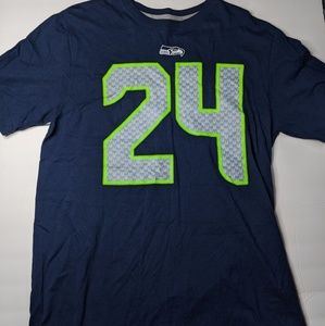 NIKE Marshawn Lynch #24 Men's Tee Sz Large Navy